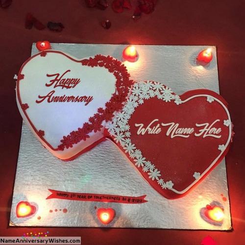 Wedding Anniversary Cake With Name Edit